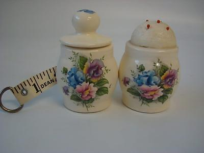 Ceramic Novelty Floral Tape Measure And Pin Cushion Sewing