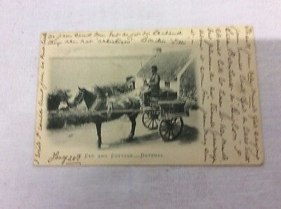 Postcard - 1902 Vignette of an Irish Car and Cottage - Donegal - Horse Cart Whip