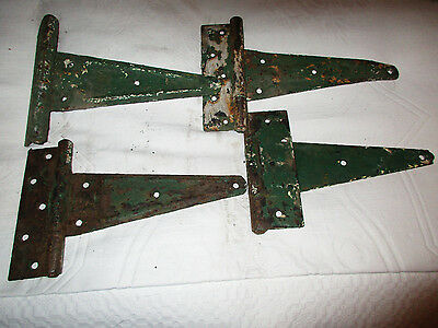 "Lot of 4 Antique Vintage 10"" Barn Door Hinges Architectural SALVAGE Hardware"