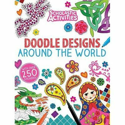 Doodle Designs Around the World -Sticker-Activity-Colouring Book-NEW-F025