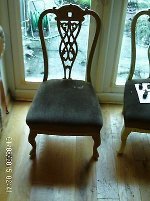 Lovely Edwardian Antique Shabby chic bedroom / salon chair in gold Pierced back