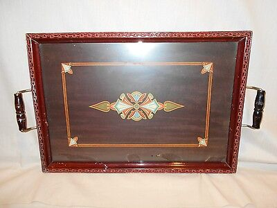 Vintage ART DECO Wood & Glass XL Serving Cocktail TRAY