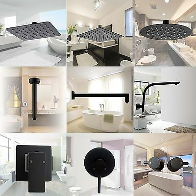 Black Thin HandHeld Square Shower Head Wall Ceiling Arm Twin Diverter Mixer Taps