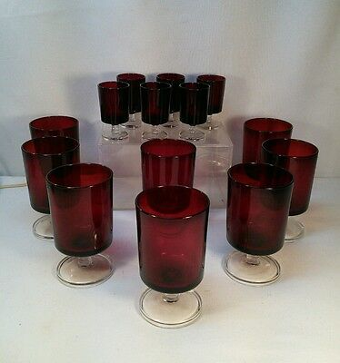 Vtg 14pc Arcoroc Luminarc France Ruby Red Pedestal Glass Cordial Low Ball Water