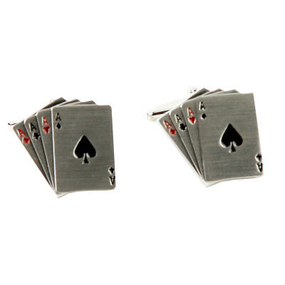 Harvey Makin Men's Rhodium Plated Playing Cards Cufflinks Gift for Him Boxed
