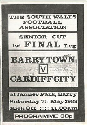 BARRY TOWN  v CARDIFF CITY  1987/88 SWSC Final
