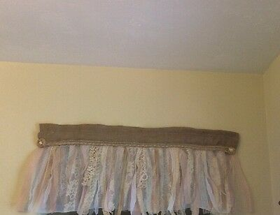 New French vintage Twine -Shabby Rustic Chic BURLAP  Valance Curtain.  Garland