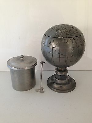 Lovely Rare Antique Pewter World Globe Tehyee Swatow Chinese Oriental Tea Caddy