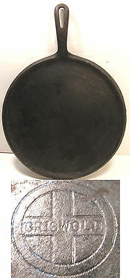 "Vintage Griswold Cast Iron 609G 11"" Round Griddle W/handle Small Logo"