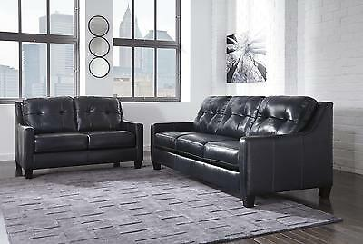 O'Kean Navy Leather Sofa and Loveseat