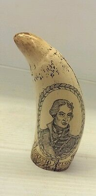 Scrimshaw Whale's Tooth Replica - H.m.s. Victory / Horatio Nelson