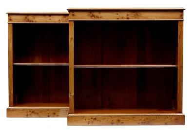 Small Pair Of Burr Elm Open Bookcases