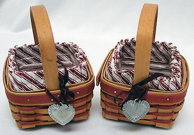 Pair Longaberger Sweetheart Baskets with Liner Protector & Tie ons 1993 1994 Red