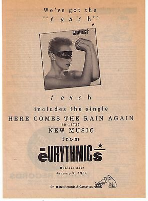 """1984 Eurythmics """"Touch"""" Canadian Album Release Trade Print Advertisement"""
