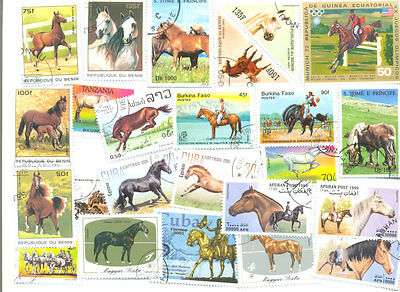 Horses 100 all different stamps collection mainly large