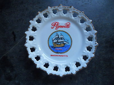 Vintage Porcelain, 7 1/8''  Wall Plate From Plymouth Mass. / Mayflower Ship