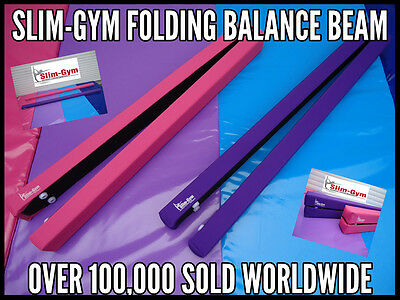 7Ft Gymnastics Folding Balance Beam By Slim-Gym 'hot Pink' Leatherette Fabric