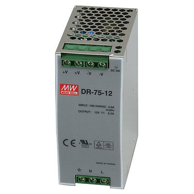 Mean Well DR-75-48 Power Supply Switching Din Rail 75 Watt 48VDC@1.6A 85-264VAC