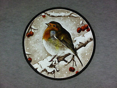 Beautiful Stained glass.ROBIN.Hand painted. Kiln fired. Diameter -150 mm. New.