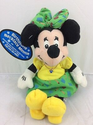 Disney Birthstone SEPTEMBER Necklace Minnie Mouse Bean Bag Plush Character NWT