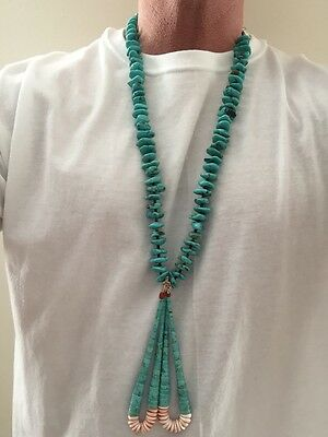 Vintage Navajo Handmade Genuine Turquoise And Heishi Bead Necklace W/ Jacla