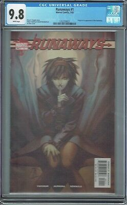 Cgc 9.8 Runaways #1 White Pages 1St Print 1St Appearance And Origin