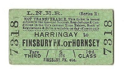 LNER 3rd. CLASS SINGLE TICKET FROM HARRINGAY TO HORNSEY - ISSUED 1931