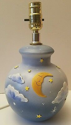 Children's Lamp Base Sleeping Moon Stars Clouds