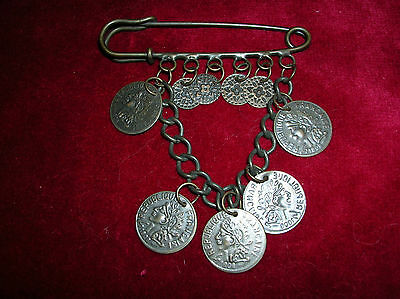 Very Old Metal Kilt Pin Decorated With Immitation Coins Bronze Colour