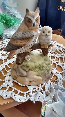 vintage OWL Ceramic San Francisco MUSIC BOX Mom and  Baby on Branch