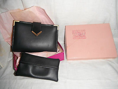 NEW Vintage Black Leather Arnolds of Chicago Womens CoinPurse/Checkbook Wallet