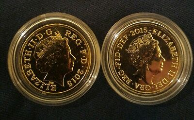 2x 2015 Royal Shield of Arms BU £1 One Pound Coins 4th/5th Portraits in Capsule!
