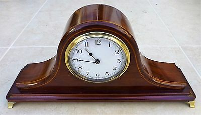 Edwardian Mantle Clock with Ceramic Dial and Boxwood Inlay. Fully working.