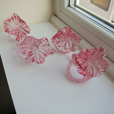 Four Superb Cranberry Glass Napkin Holders LOOK***