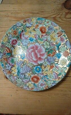 Shabby chic highly decorative gold and floral plate