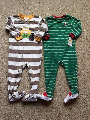 Lot of 2 2T & 24 month Carter's fleece footed sleeper pajamas striped