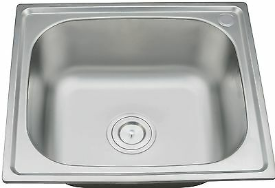 Compact Drop-in Topmount Stainless Steel Kitchen Sink 1.0 Single Bowl Square UK