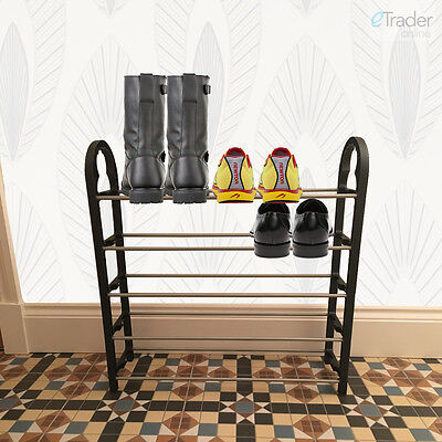 5 Tier Shoe Rack 5 Row Trainer Slipper Stand Storage Compact Strong 10-15 SHOES