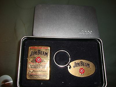 Rare Jim Beam Zippo Un Used + Keyring In A Gift Tin   L@@k Marked J X11