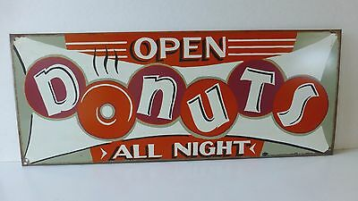 """Tin Donut Shop Sign- Open All Night, 24x7"""" signed Mumineri Great Color"""