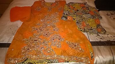 Asian suit, Indian suit, ready made Pazami suit colour orange with printed pazam
