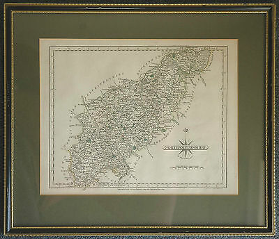 John Cary Original Antique Map Northamptonshire 1812, mounted and framed