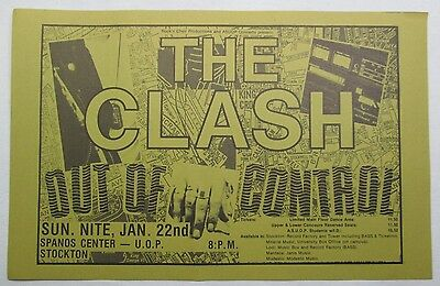 The Clash, Vintage 1984 Official Out of Control MKII Tour handbill Flyer