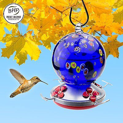 Blown Glass HUMMINGBIRD FEEDER with Perch - holds 24 ounces of Nectar