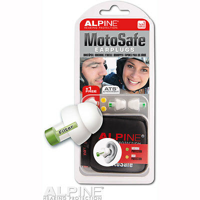 Motorcycle Alpine Motosafe Earplugs Red Dot Design - Green UK Seller
