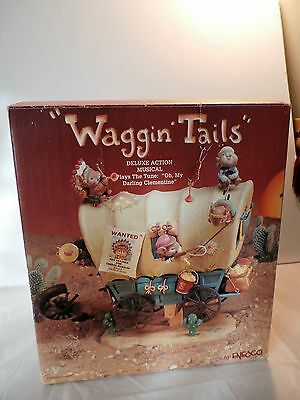 Enesco Waggin Tails Cowboys & Indians Mice Multi-Action Music Box