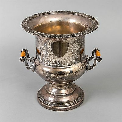 Antique Silver Plated Ice Bucket with Handles Filigree Pedestal Base Champagne