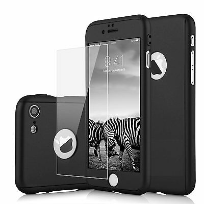 360° Thin Shock Proof Case Cover + Tempered Glass Screen Protector for iPhone 7