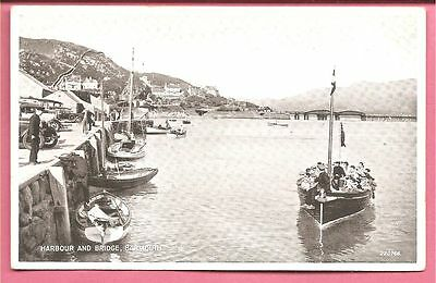 Harbour and Bridge, Barmouth, Wales postcard. Valentines.