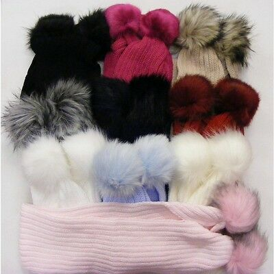 Baby/kids/girls Faux Fur  Pompom Scarf. Winter Warm & Cosy Large Matching Pom